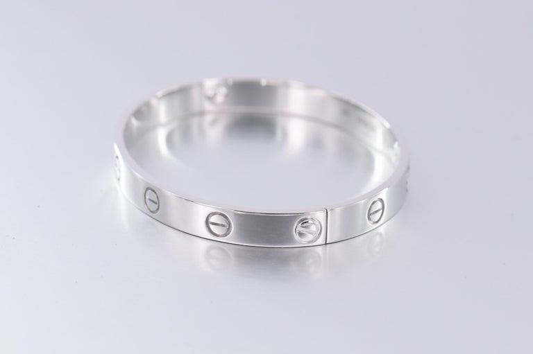 Women's or Men's Cartier 18K White Gold Love Bracelet Size 17