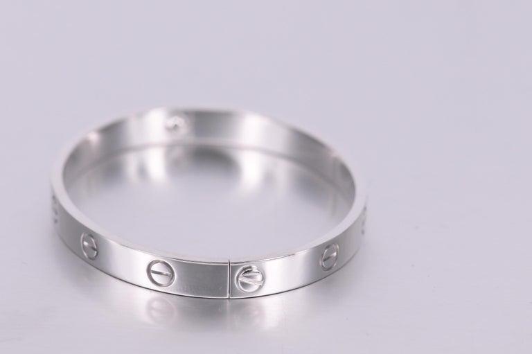 Cartier 18K White Gold Love Bracelet Size 17 1