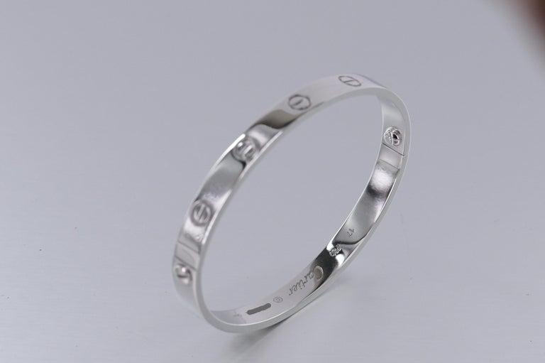 Cartier 18K White Gold Love Bracelet Size 17 2