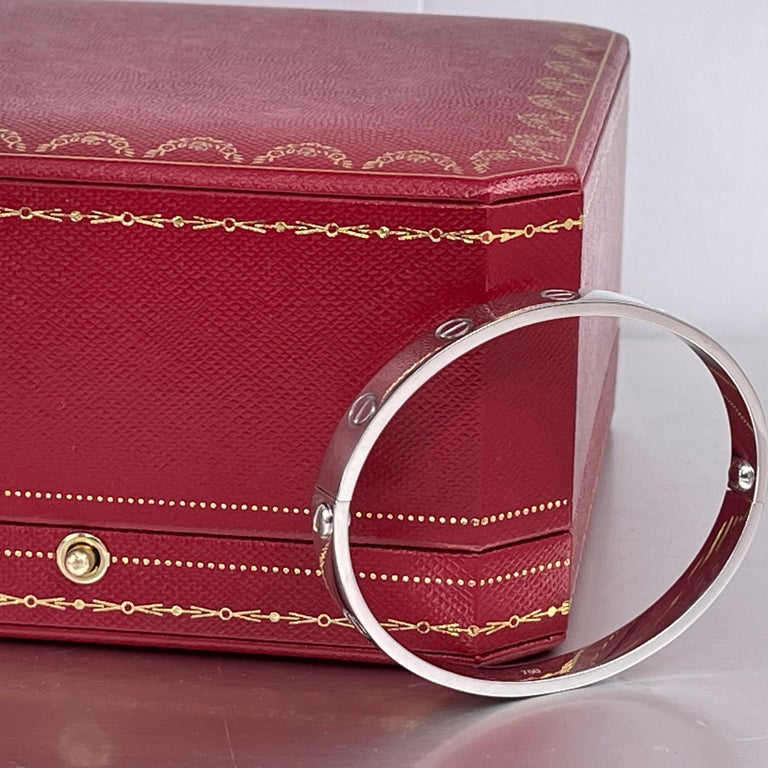 Cartier 18K White Gold Love Bracelet Size 17 4