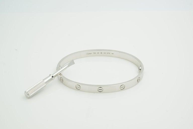 Modern Cartier 18 Karat White Gold Love Bracelet For Sale