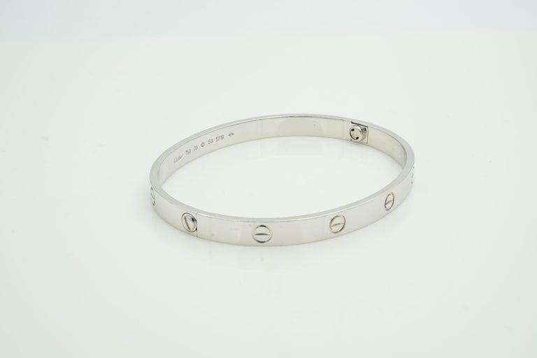 Women's or Men's Cartier 18 Karat White Gold Love Bracelet For Sale