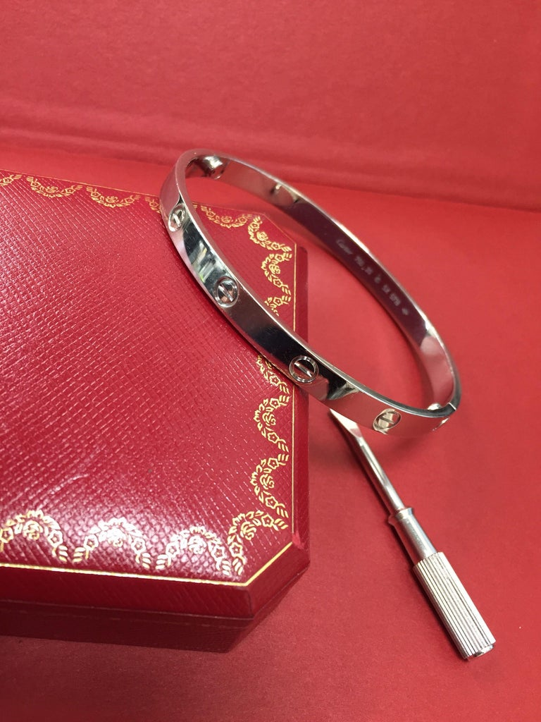 Cartier 18 Karat White Gold Love Bracelet For Sale 1