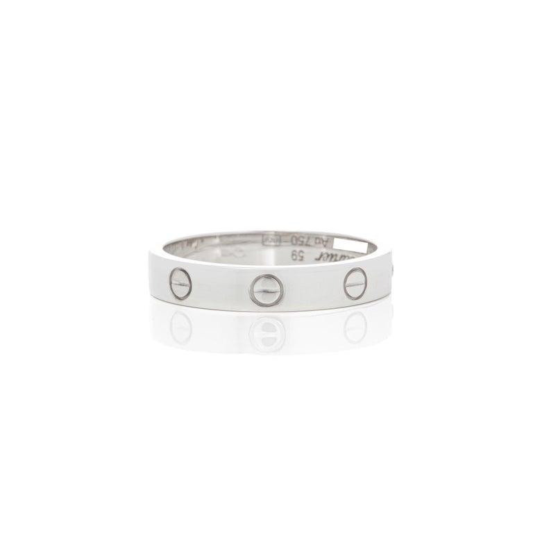 Round Cut Cartier 18 Karat White Gold Love Ring