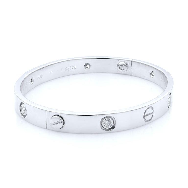Modern Cartier 18 Karat White Gold Love Six Diamond Bracelet For Sale