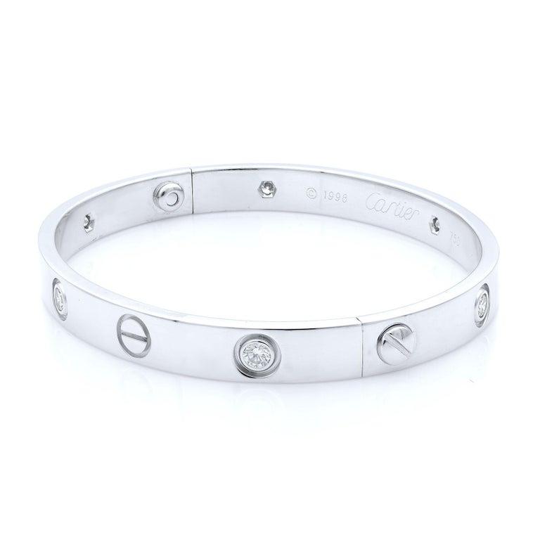 Round Cut Cartier 18 Karat White Gold Love Six Diamond Bracelet For Sale
