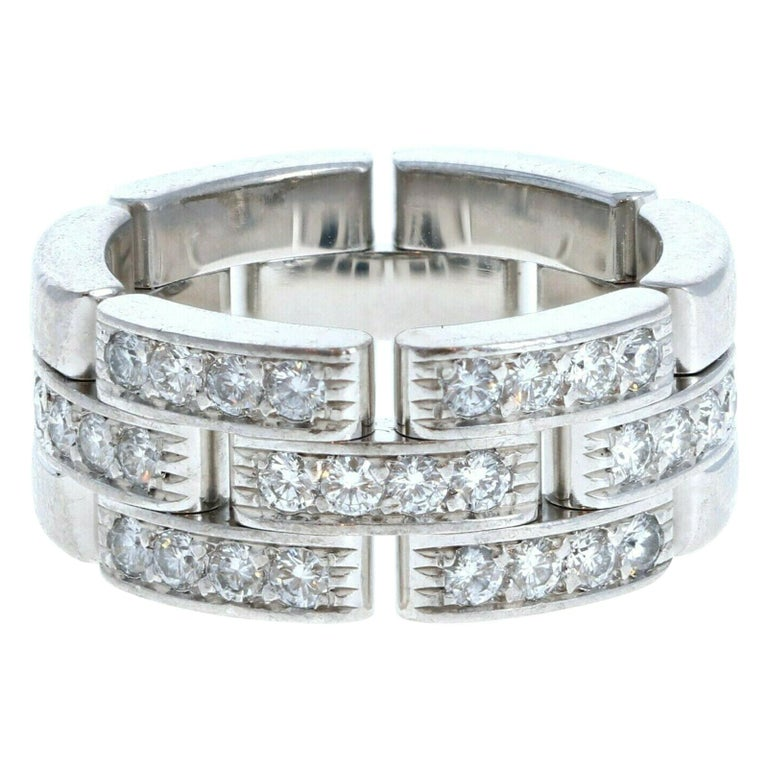 Cartier 18k White Gold Maillon Panthere Diamond Band Ring 11.6g For Sale