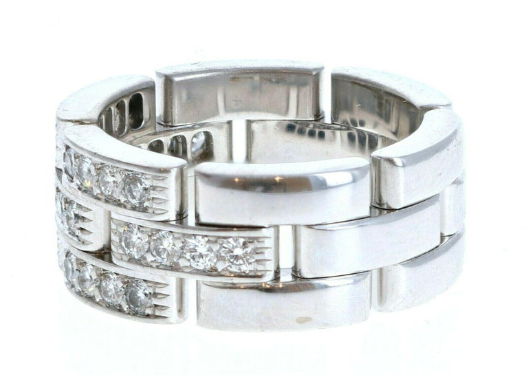 Cartier 18k White Gold Maillon Panthere Diamond Band Ring 11.6g Size 4.5  For sale is a cartier Maillon Panthere half diamond ring  The ring is a size 4.5  Perfect worn day or night. The cartier and ring size has worn off from wear but the ring is