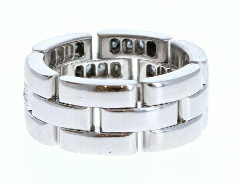 Round Cut Cartier 18k White Gold Maillon Panthere Diamond Band Ring 11.6g For Sale