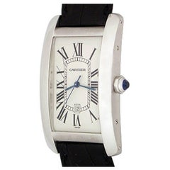 Cartier 18k White Gold Mens Tank Americaine Automatic Wrist Watch Ref W2603256