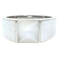 Cartier 18k White Gold Moonstone Tank Ring 12.6g
