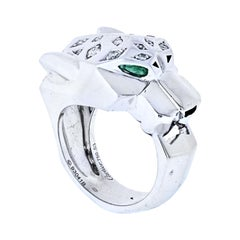 Cartier 18K White Gold Panthere Diamond and Emerald Eyes Ring