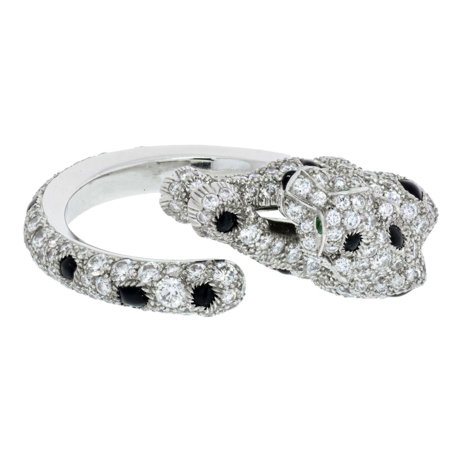 Cartier 18k White Gold Panthere Diamond and Onyx Ring