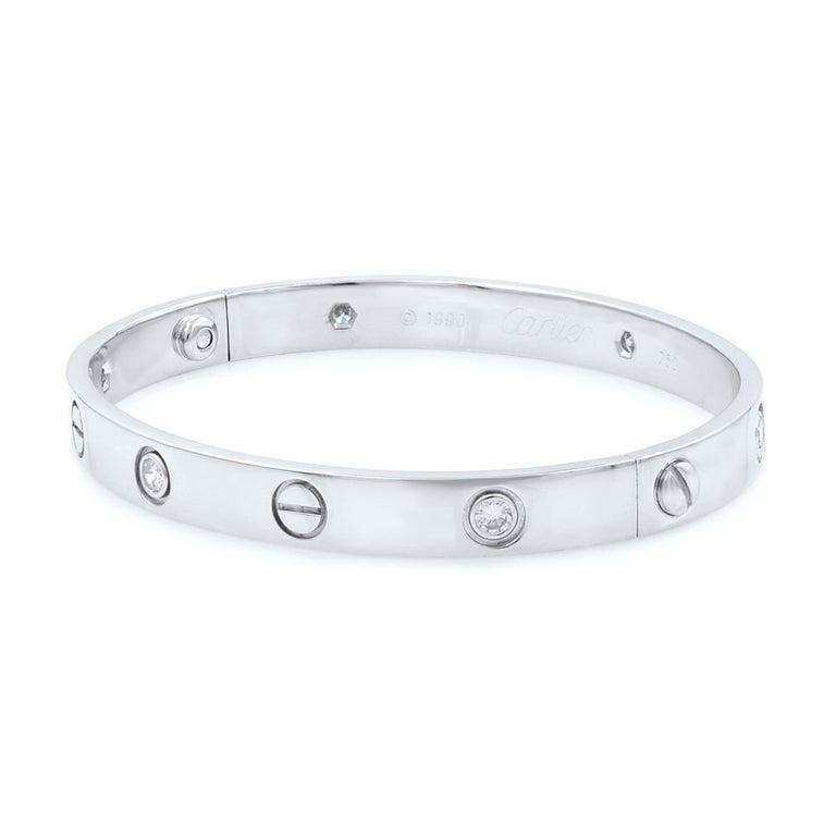 Cartier 18 Karat White Gold Six Diamond Love Bracelet In Good Condition In New York, NY