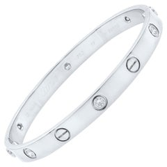 Cartier 18 Karat White Gold Six Diamond Love Bracelet