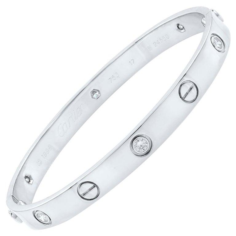 Cartier 18 Karat White Gold Six Diamond Love Bracelet