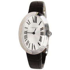 Cartier 18K White Gold Small Baignoire Watch w. Alligator Band