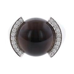 Cartier 18 Karat White Gold Smoky Quartz and Diamond Ring