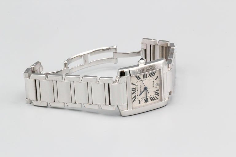 Cartier 18 Karat White Gold Tank Francaise Date Midsize Wristwatch In Good Condition For Sale In New York, NY