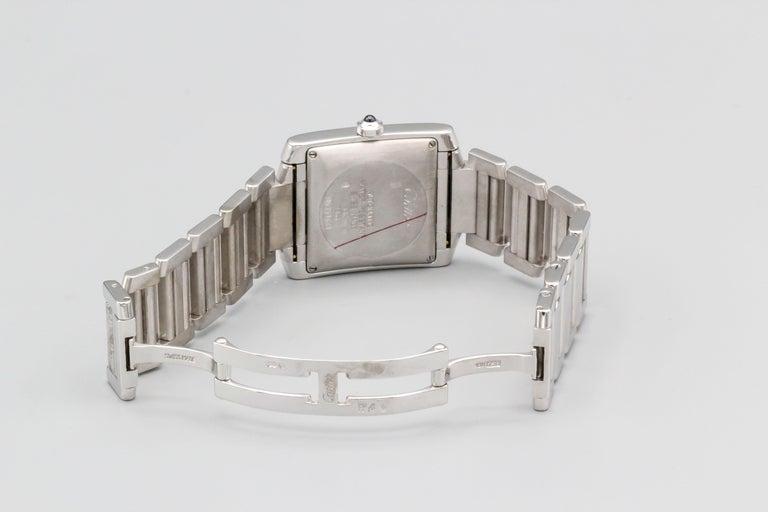 Women's or Men's Cartier 18 Karat White Gold Tank Francaise Date Midsize Wristwatch For Sale