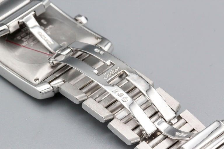 Cartier 18 Karat White Gold Tank Francaise Date Midsize Wristwatch For Sale 1