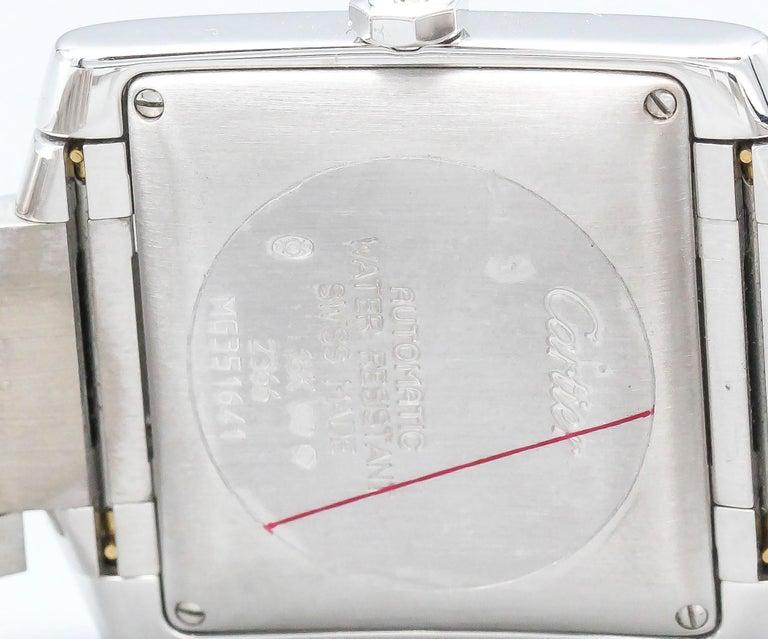 Cartier 18 Karat White Gold Tank Francaise Date Midsize Wristwatch For Sale 4