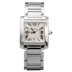 Cartier 18 Karat White Gold Tank Francaise Date Midsize Wristwatch