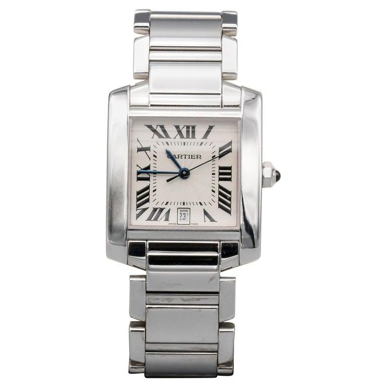 Cartier 18 Karat White Gold Tank Francaise Date Midsize Wristwatch For Sale