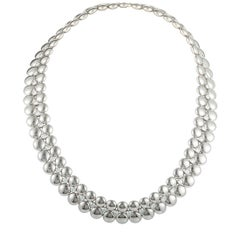 Cartier 18K White & Yellow Gold Diamond 2-row Beaded Inside Out Collar Necklace