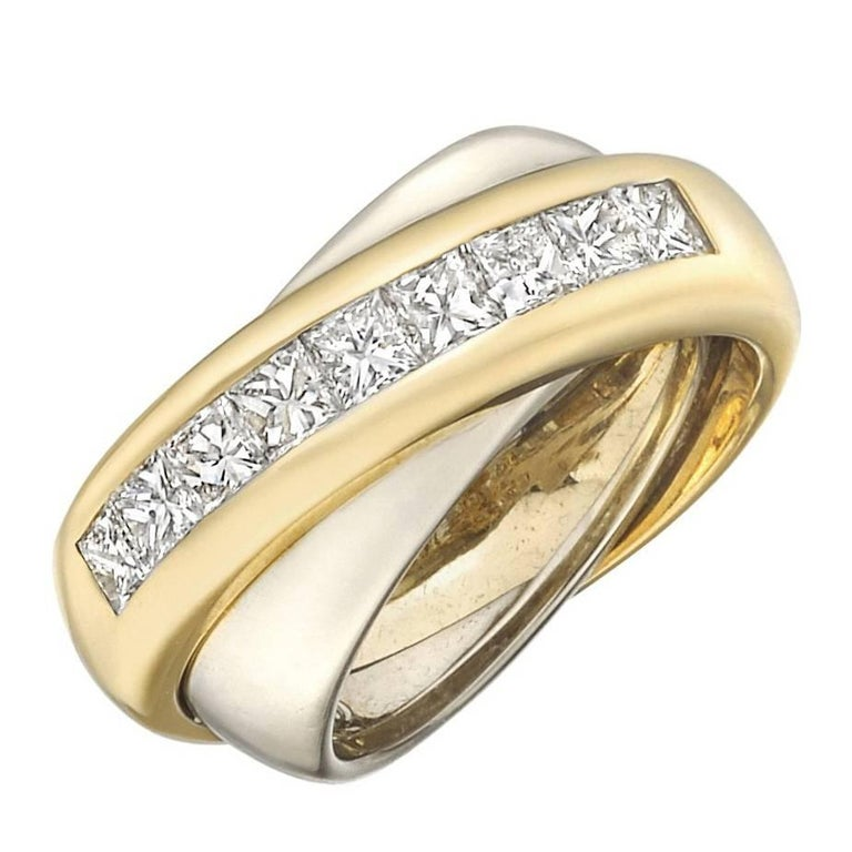 Cartier 18 Karat Yellow and White Gold Diamond Crossover Ring