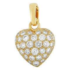 Cartier 18 Karat Yellow Gold 1.30 Carat Full Diamond Pave Heart Pendant