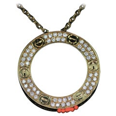 Cartier 18k Yellow Gold and Diamond Paved LOVE Necklace