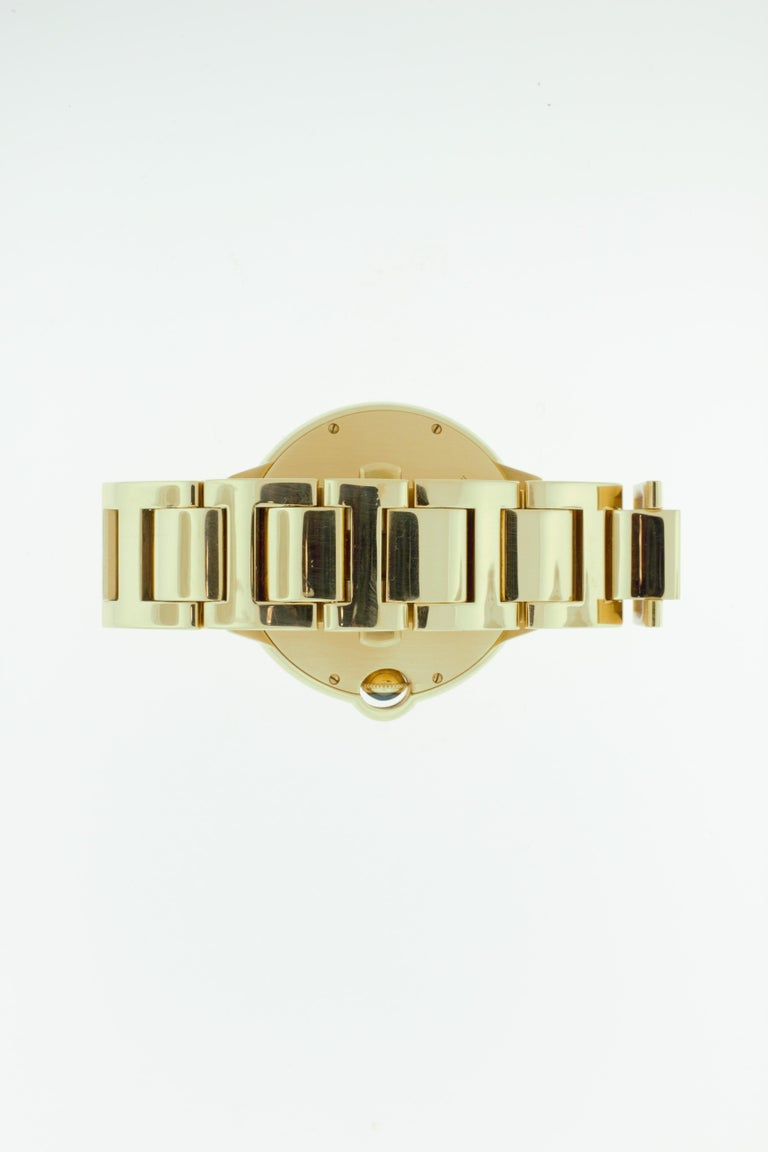 Modern Cartier 18 Karat Yellow Gold Ballon Bleu Watch For Sale