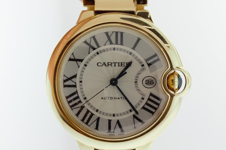 Women's Cartier 18 Karat Yellow Gold Ballon Bleu Watch For Sale