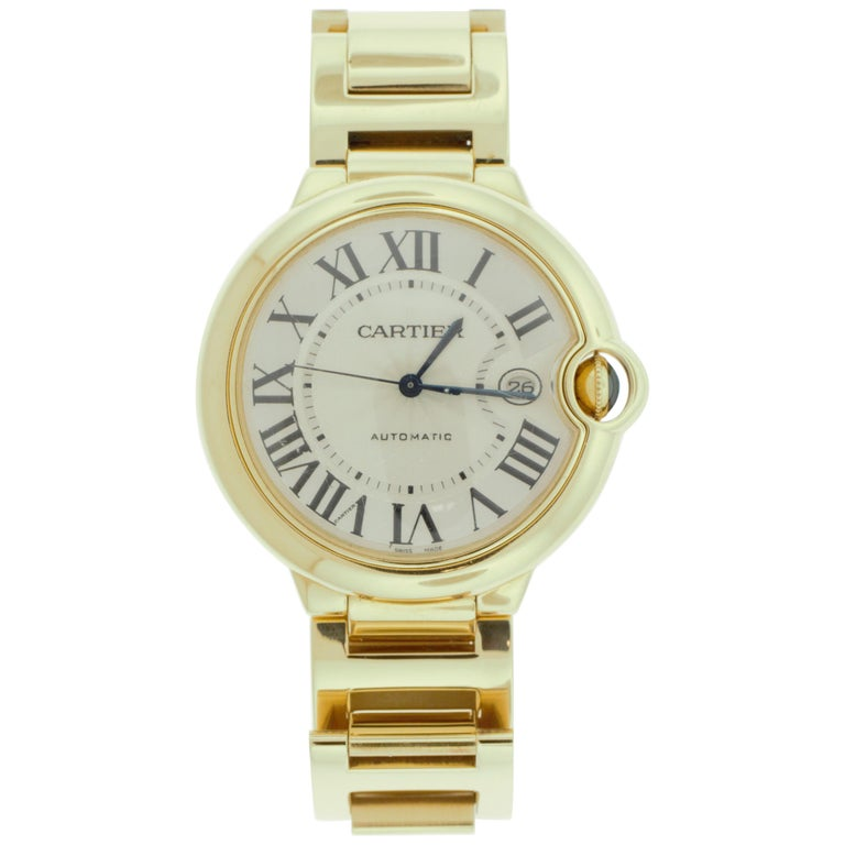 Cartier 18 Karat Yellow Gold Ballon Bleu Watch For Sale