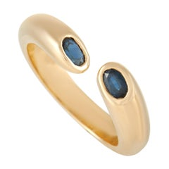 Cartier 18k Yellow Gold Blue Sapphire Open Band Ring