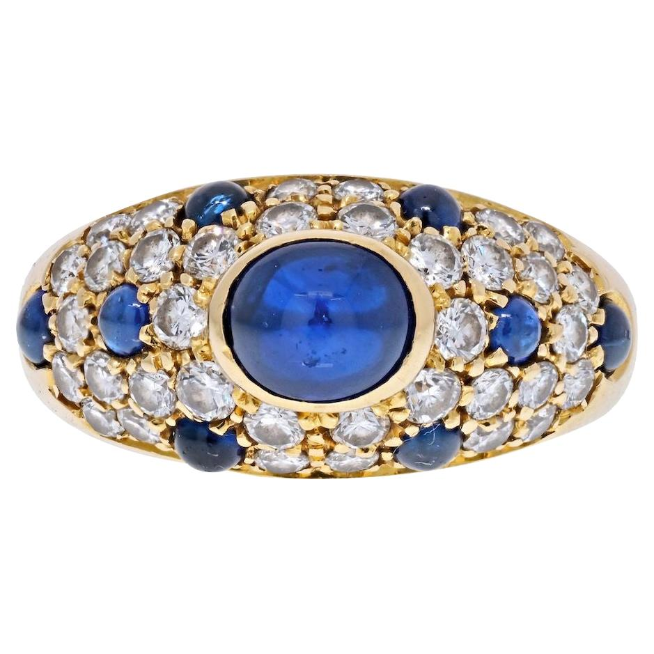 Cartier 18K Yellow Gold Cabochon Sapphire Diamond Ring