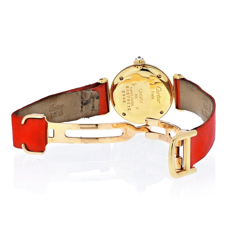 Modern Cartier 18k Yellow Gold Colisee Diamond Satin Strap Watch For Sale
