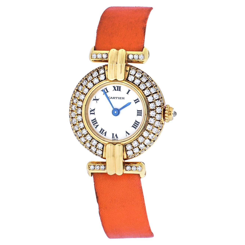 Cartier 18k Yellow Gold Colisee Diamond Satin Strap Watch