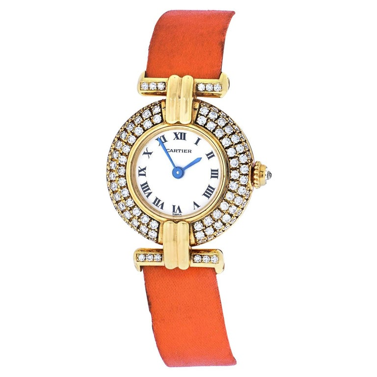 Cartier 18k Yellow Gold Colisee Diamond Satin Strap Watch For Sale