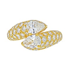 Cartier 18k Yellow Gold Deux Tetes Croisees Diamond Bypass Ring