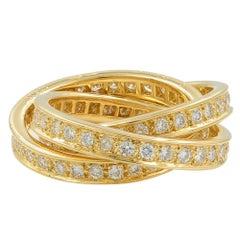 Cartier 18 Karat Yellow Gold Diamond 1.55 Carat Trinity Ring