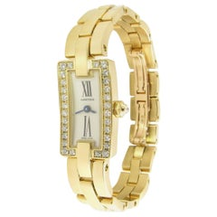Cartier 18 Karat Gold Diamond Ballerine Ladies Tank Watch 2992 Silver Dial