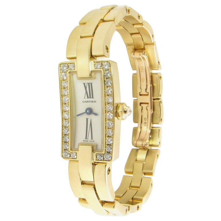 Cartier 18 Karat Gold Diamond Ballerine Ladies Tank Watch 2992 Silver Dial For Sale