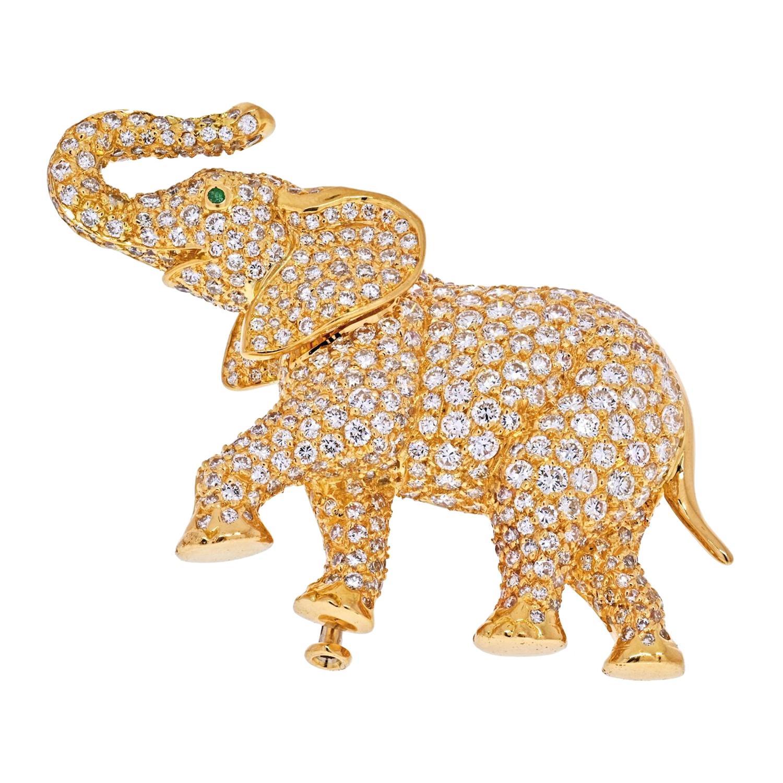 Cartier 18k Yellow Gold Diamond Elephant Brooch