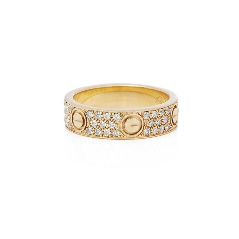 Contemporary Cartier 18 Karat Yellow Gold Diamond Set Love Ring For Sale