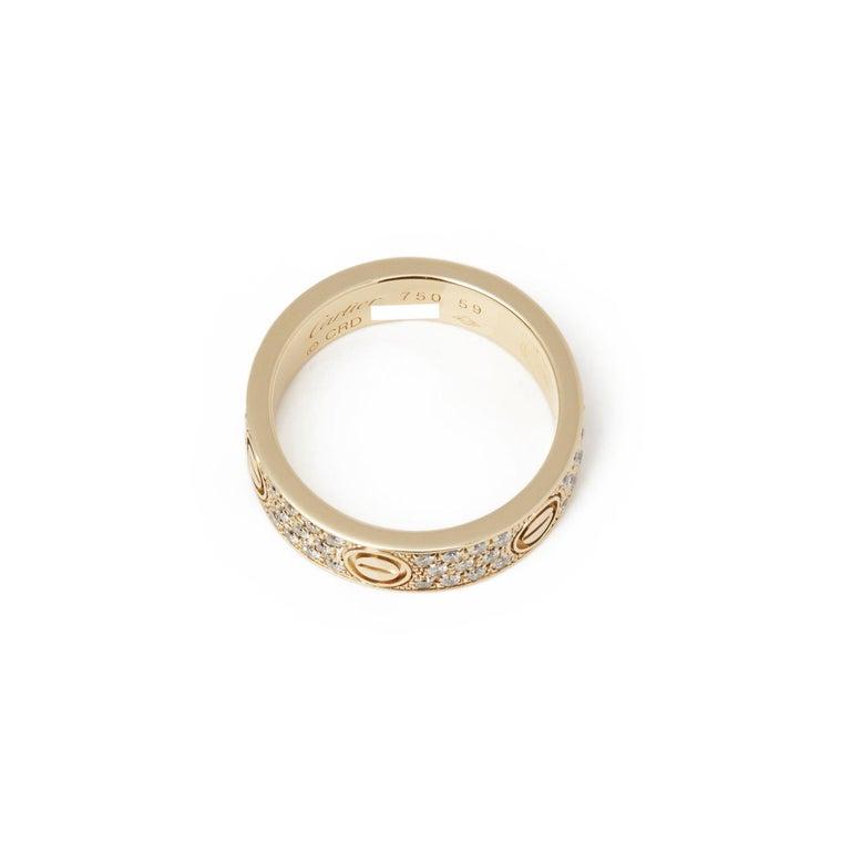Cartier 18 Karat Yellow Gold Diamond Set Love Ring In Good Condition For Sale In Bishop's Stortford, Hertfordshire