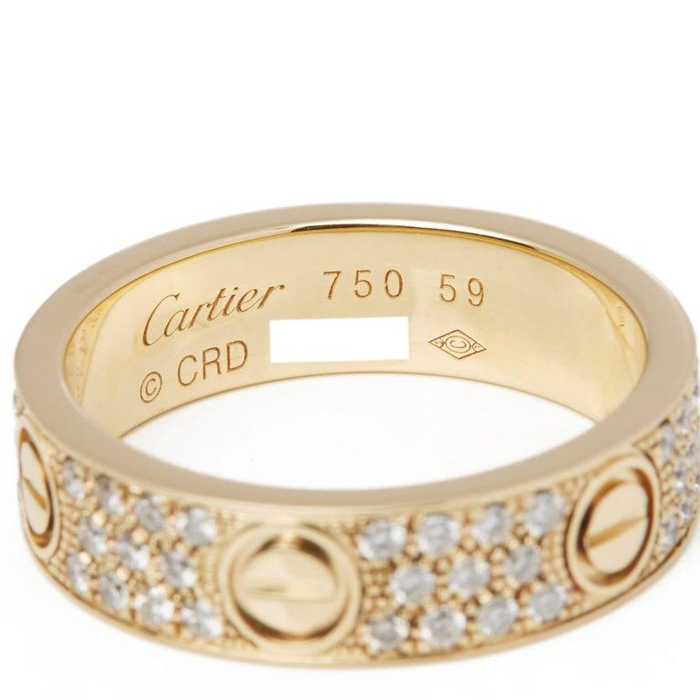Women's or Men's Cartier 18 Karat Yellow Gold Diamond Set Love Ring For Sale