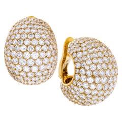 "Cartier 18k Yellow Gold Diamonds ""Bombe"" Ear Clips"