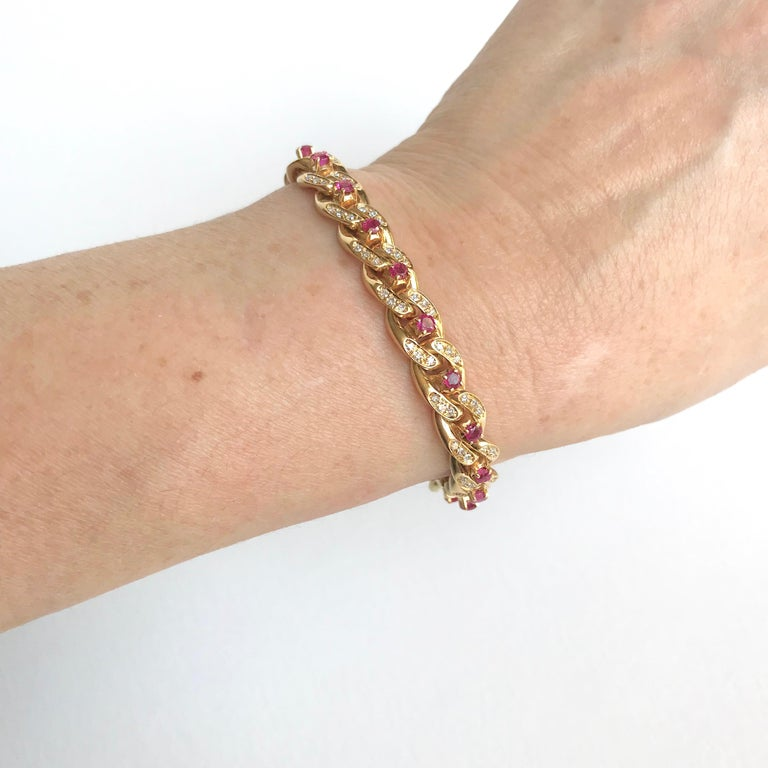 Cartier 18 Karat Yellow Gold Gourmet Link Bracelet, 22 Rubies, 132 Diamonds For Sale 5